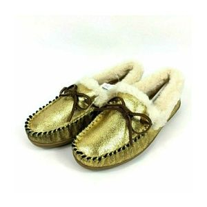 J Crew Gold Metallic Lodge Moccasins